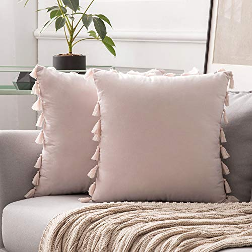 MIULEE Pack of 2 Velvet Soft Solid Decorative Throw Pillow Cover with Tassels Fringe Boho Accent Cushion Case for Couch Sofa Bed 18 x 18 Inch Pink