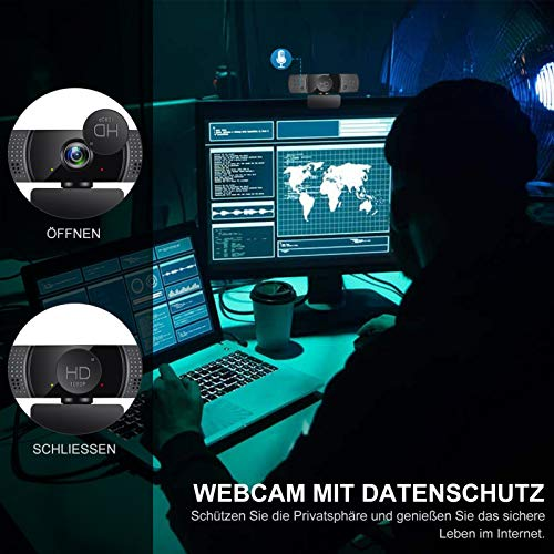 Webcam mit Mikrofon, 1080P Full HD USB Webkamera mit Stativ,Streaming-Webcam für PC, Laptop, Mac, Webcam mit Autofokus Weitwinkel