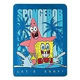 Spongebob Squarepants Lets Surf Throw Plush Blanket, 46' x 60'