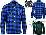 Bikers Gear Australia - Camisa protectora de franela para motocicleta con forro de aramida multicolor Azul y negro. xx-large