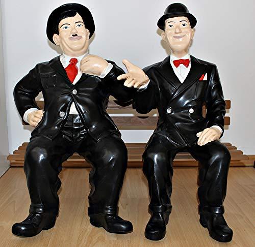 Gartenfigur Deko Figur Dick und Doof H 60 cm auf der Bank Figur Laurel und Hardy aus Kunstharz