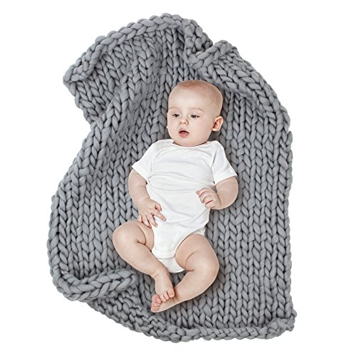 MHJY Chunky Knit Blanket for Baby Photo Props Blanket Newborn Photography Backdrop Rugs Newborn Photo Shoot Blanket (Grey (Large))