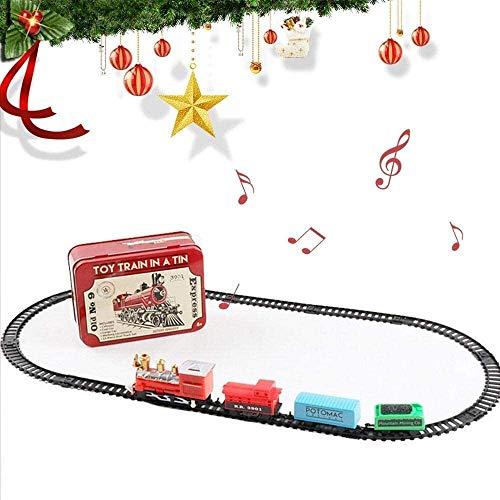 SXXYTCWL Juego de Tren de Navidad for los niños, Mini Electric ovales de la Forma Pistas ferroviarias Juguete, de Lujo con Pilas de Navidad Tren de Juguete Caja for Niños Niñas jianyou
