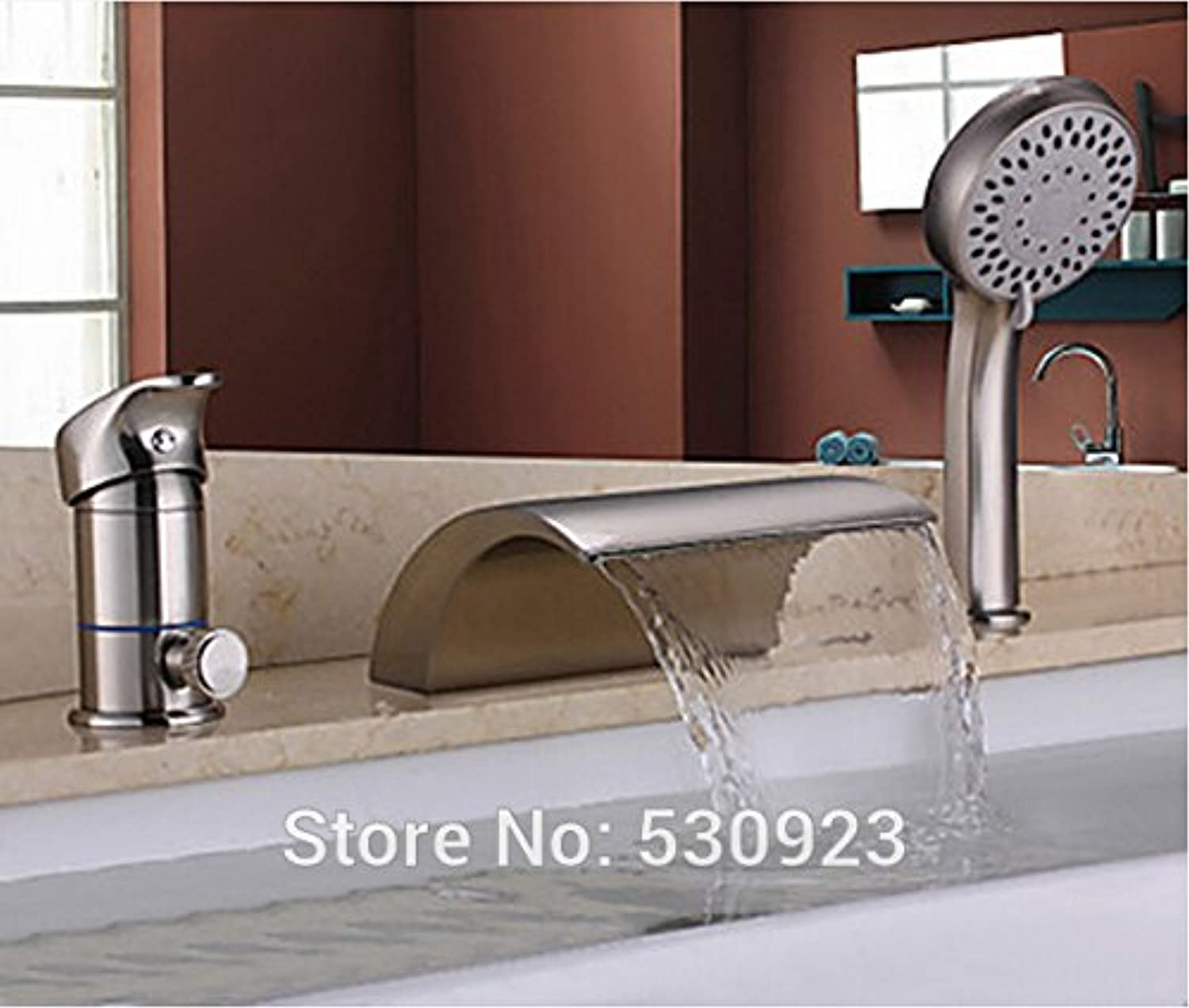 Retro Deluxe FaucetingNew Arrival Solid Brass Bathroom Tub Faucet Set Nickle Brushed Mixer Tap Shower Tap W  Abs Handheld Shower One Handle Deck Mount