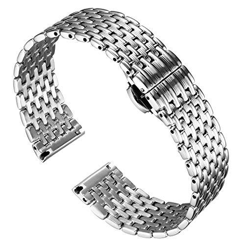 BINLUN Thin Mesh Edelstahl Uhrenarmbänder Light Ersatz Uhrenarmband Poliertes Armband für Herren Damenuhr 12mm / 14mm / 16mm / 18mm / 20mm / 22mm mit Butterfly Schnalle