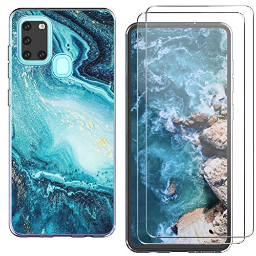 kinnter Silikon Handyhülle Kompatibel mit Samsung Galaxy A21s Handy Hülle Transparent Ultra Dünn Schutzhülle mit 2 Pack Galaxy A21s Panzerglas Screen Protector Kratzfeste Schutzfolie