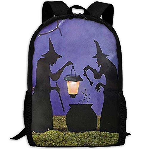 VNFDAS Laptop-Rucksack Hexenkessel mit solarbetriebener Laterne, Halloween-Silhouette, Computertasche, Schulrucksack für Damen und Herren