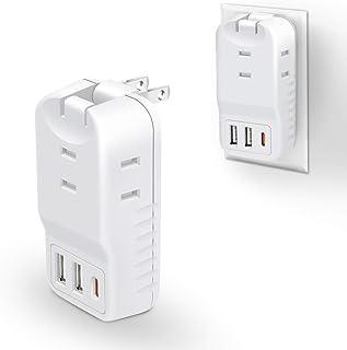 USBコンセント タップ 3個口 USBポート×3 3.6A(USB-A ×2 USB-C ×1) MSCIEN 電源タップ USBタップ タコ足コンセント 分岐 直挿し 小型 マルチタップ 家庭 旅行に ホワイト