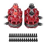 RC Drone Motor sin Escobillas, 4Pcs DX2306 2400KV 2-4S CW CCW Metal sin Escobillas para X210 X220 250 Racing Drone