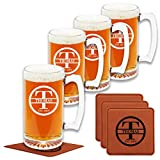 Personalized Beer Mugs (Set of 4) - 9 Premium Customizable Design Options - Etched Mug Great Gifts for Birthday, HouseWarming, Wedding, Anniversary, Christmas & More - Engraved by Froolu