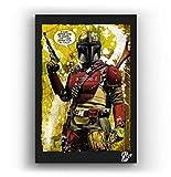El Cazador de recompensas de la Serie de televisión The Mandalorian - Pintura Enmarcado Original, Im...