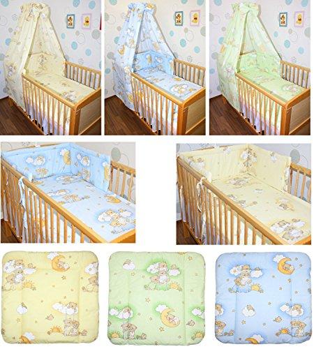 5-20 teiliges Baby Bettset mit Bettwäsche Himmel Nestchen BÄRCHEN AUF LEITERN GELB BLAU GRÜN Gelb 9 tlg