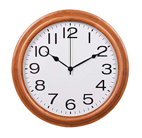 Reloj de Pared de Madera Simple, Reloj de Pared Retro, Reloj de Cuarzo, Reloj de Pared Redondo de Madera, Estilo rústico rústico, para Cocina, Dormitorio, Oficina, hogar silencioso