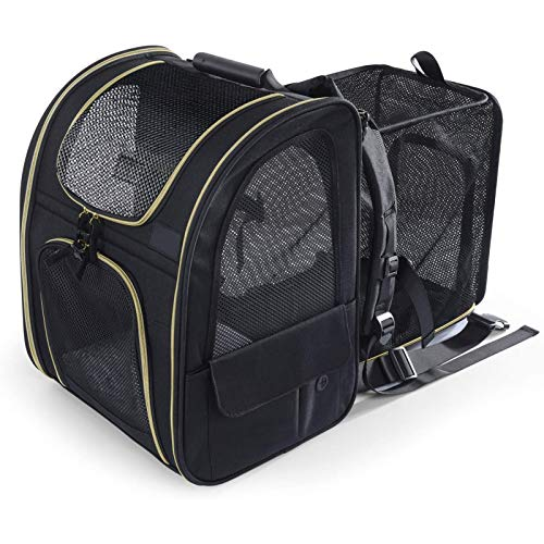 Backpack Expandable, Portable Breathable Rucksack with Front Opening-mesh Window-pockets, Extendable Back More Space Great for Carrying Puppy Dogs Cats Up to 10kg (black)