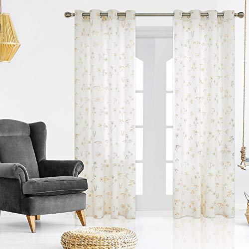 Deconovo Samt Gardinen Lichtdurchlässig Ösenvorhang Wohnzimmer Schlafzimmer Vorhang Modern 245x140 cm Weiß 2er Set