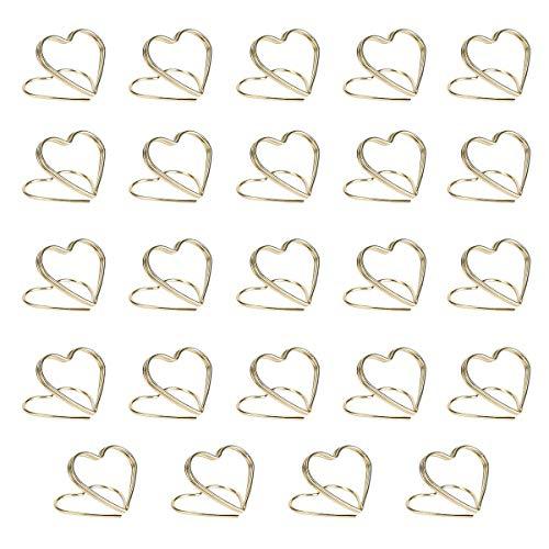 AIEVE 24 Stück Tischkartenhalter Herz Fotohalter Platzkartenhalter Memohalter Tischkarten Name Halter Sitzkartenhalter Tischkarte Ständer für Hochzeit Party Büro Restaurant