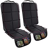 Gimars XL Thickest EPE Cushion Car Seat Protector Mat, 2 Pack Large Waterproof 600D Fabric Child Baby Seat Protector with Storage Pockets for SUV, Sedan, Truck, Leather and Fabric Car Seat