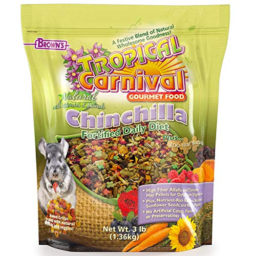 F.M. Brown's Tropical Carnival Natural Chinchilla Food, 3-lb Bag - Vitamin-Nutrient Fortified Daily Diet with High Fiber Alfalfa and Timothy Hay Pellets for Optimum Digestion