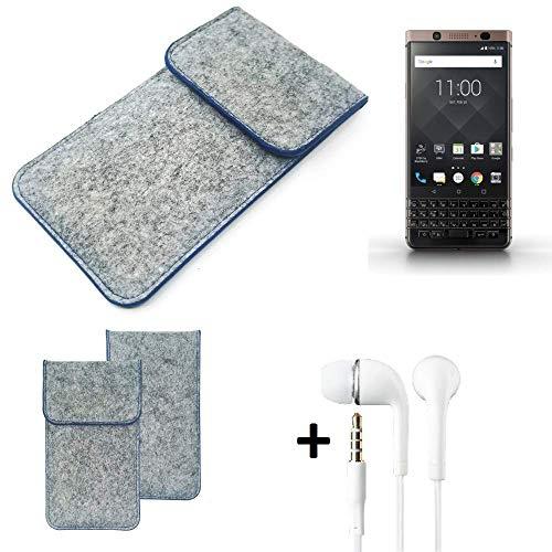 K-S-Trade Filz Schutz Hülle Für BlackBerry KEYone Bronze Edition Schutzhülle Filztasche Pouch Tasche Handyhülle Filzhülle Hellgrau, Blauer Rand + Kopfhörer