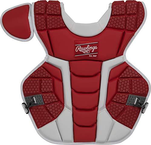 Rawlings Mach Intermediate NOCSAE Baseball Catcher's Chest Protector, Scarlet, 155 (CPMCNI-S)