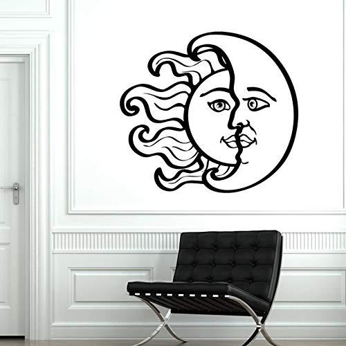 JXMN Vinilo de Pared Sol Luna calcomanía Dormitorio Mural calcomanía de Vinilo 84x76cm