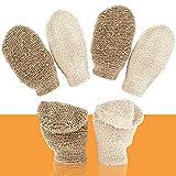 4 Piezas guantes exfoliantes para el cuerpo guantes esponja ducha guantes exfoliantes lino para el cuerpo, para limpiar euerpo, spa, masaje, exfoliación, anti celulitis, obtener piel suave
