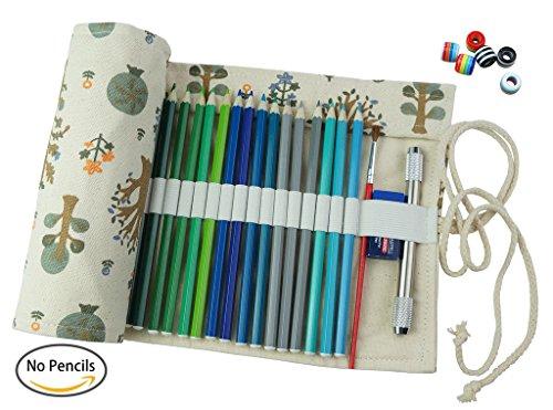 Cre-go tela hecha a mano lápiz Wrap Roll up bolsa de almacenamiento, tiene 72 pedazos de lápices de colores, paquetes no incluye lapices, Sapling, 72-piece