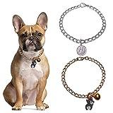 HACRAHO Collar para perro, 2 unidades ajustable para perro con campana de metal para mascotas collar de cadena para gatos y perros, oro y plata, 40 cm