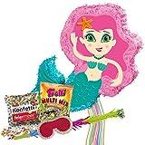 PartyMarty Pinata Set Meerjungfrau Mermaid Pinata & Schläger & Maske & Trolli Süigkeiten 500g Multi Mix & Konfetti bunt 50g Feiermeier kleine Meerjungfrau