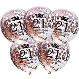 DIWULI, 5 Piezas de Globos de cumpleaños, número 21, Feliz cumpleaños, Estrellas de Confeti de Oro Rosa Globos de látex, Globos de látex, número de Globos, decoración del Juego de Globos