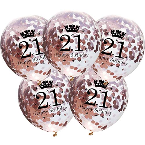DIWULI, 5 Stück Geburtstags Luftballons, Zahl 21, Happy Birthday, Roségold Konfetti Sterne Latex-Ballons, Latex-Luftballons, Zahlen-Ballons, Ballon-Set Deko Rose-Gold 21. Geburtstag, Party, Dekoration