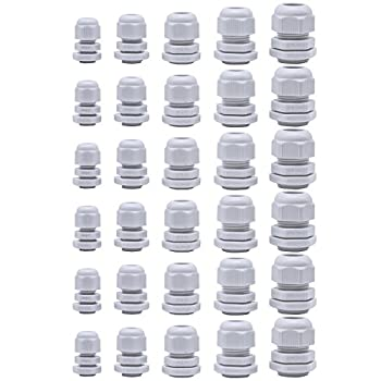 30 Pcs Cable Glands,Plastic Waterproof Cable Connectors,Adjustable 3.5-13mm Cable Gland Joints,PG7 PG9 PG11 PG13.5 PG16  White  by Jetovo