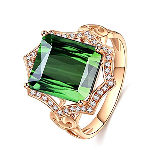 FiedFikt Fashion Green Ring Plated Pendant Jewelry Charms Rings Ladies Ring Jewelry Finger Ring Girls Rings Jewellery Decoration Jewels Gift