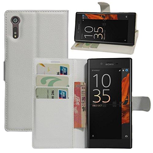HualuBro Sony Xperia XZ Hülle, Sony Xperia XZs Hülle, Premium PU Leder Stoßfest Klapphülle Schutzhülle HandyHülle Handytasche Wallet Flip Hülle Cover für Sony Xperia XZ Tasche (Weiß)