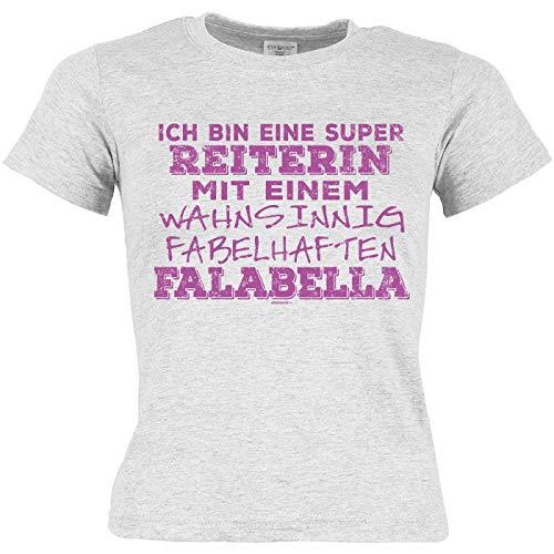 Veri Falabella Pferde Rasse Kinder T-Shirt Mädchen Geschenk Weihnachten Reiterin mit Falabella Hobby Print Aufdruck grau Gr: L :-