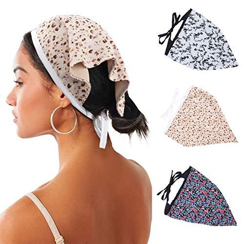 HAIMEIKANG Elastisches Haarband mit Blumenmuster, 3 Stück, Chiffon-Kopftuch, Kopftuch, bedruckter Turban, Haarbandanas für Frauen - - Einheitsgröße
