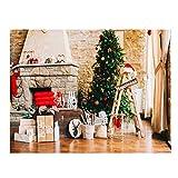 Basage Fondo de fotografía de 7 x 5 pies con gorro de Navidad, para chimenea, árbol de Navidad, fondo de estudio de fotos