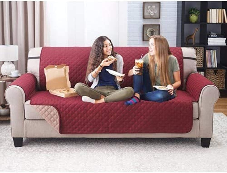 Proud pink Cotton Sofa Cushion Pillowcase Nordic Sofa Cushions Cover Towel Four Seasons Universal Anti-Skid Cushion   Grid, 90x120cm