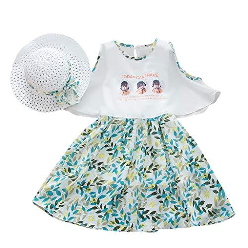 Cover 2 Stück Set Mädchen Kleid + Strohhut Blumen Blatt Muster Kleider T-Shirt Strandkleid Prinzessin Kleid