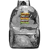 T-Thrasher-Magazine-Flame Laptop Backpack Fashion Travel Daypack Galaxy Canvas Backpack Starry Sky Shoulders Bags