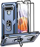 Aliruke Case for LG Stylo 6 Case with 2 Tempered Glass Screen Protector, Military Grade Drop Tested Cover Grip Ring Kickstand Protective Phone Cases for LG Stylo6, Blue