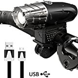 DAMIGRAM USB Rechargeable Bike Light Set, Super Bright Waterproof Lumens LED Front Bicycle Light 4 Modes Cycle...
