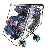 Weather Shield for Double Stroller Raincoat Universal Size Side by Side Baby Umbrella Stroller Rain Cover Scooter Twin Wind Shield Waterproof Jogger City (Side by Side)