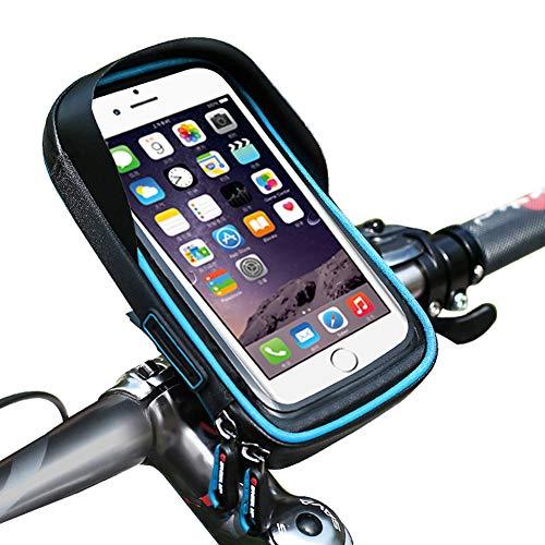 Sanqing Fahrrad-Telefon-Tasche, Universal Bicycle Rear Lenker Tasche Tasche mit Wasser widerstandsfähigen Rahmen transparenten Touchable Case 360 Grad Rotation für unter 6 Inchs Smartphone,Blue