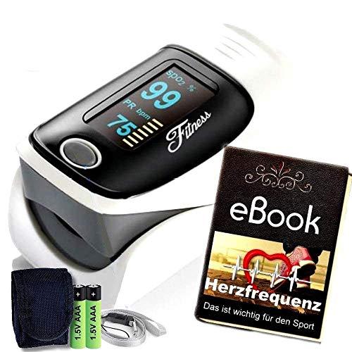 Fitness Prince© Heartbeat O2 Professioneller Finger Oximeter Alarmfunktion & drehbarem OLED Display, Herz Puls genauen Messung Sauerstoff-Sättigung (SpO2) der Herzfrequenz inkl Batterien & Tasche