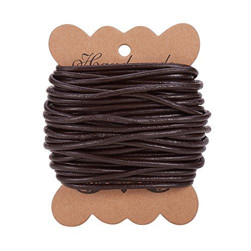 PandaHall Elite 1 Roll Cordones de Cuero Pulsera de Cuero Redondo para neckacle Abalorios joyeria Marron Oscuro 3 mm