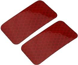 DealMux 2 stks Honingraat Reflecterende Waarschuwing Tape Film Sticker Rood 30mm x 60mm