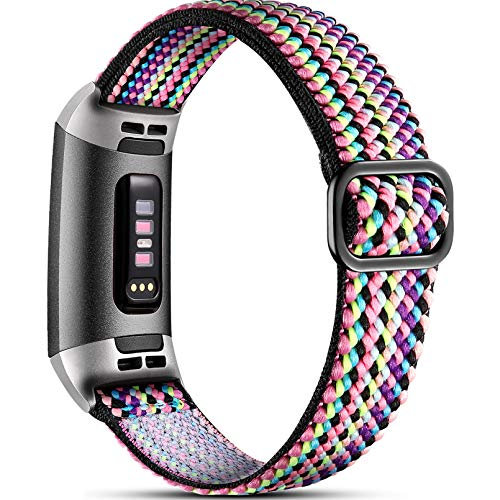 Dirrelo Stretchy Strap Compatible with Fitbit Charge 3 Strap/Fitbit Charge 4 Strap, Soft Adjustable Elastic Replacement with Stylish Pattern, Nylon Woven Sport Wristband for Women Men, Rainbow