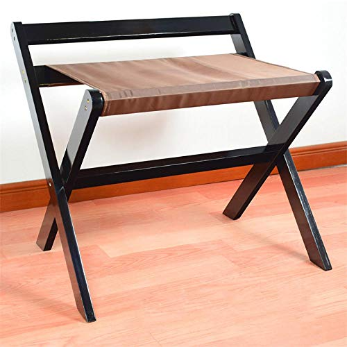 Suitcase Stand Solid Wood Luggage Stool Foldable Bedroom Bedside Clothes Storage Rack Hotel Rack Furniture-Black Cloth 60 * 48 * 55Cm