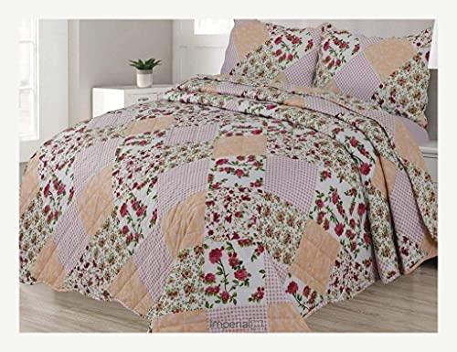 Juego de cama reversible de 3 piezas con funda de almohada (rosa Freya, doble)